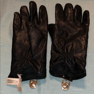 Michael Kors Black Quilted Leather Driving Gloves
